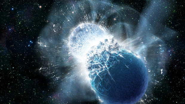 Artist's depiction of a neutron star collision after inspiral. (Credit: NASA/Swift/Dana Berry)